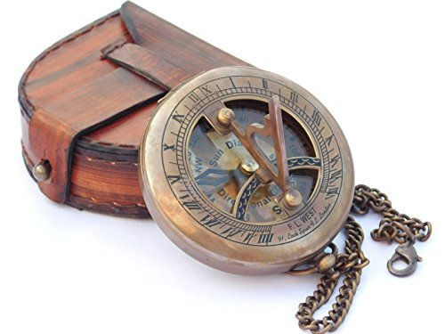 #steampunk NEOVIVID Brass Sundial Compass with Leather Case and Chain https://t.co/JvogGrPdN2