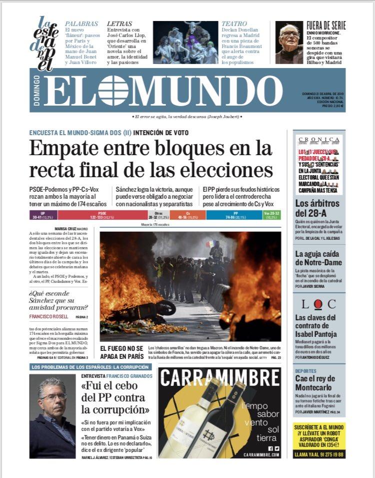#LaPortada del domingo 21 de abril.