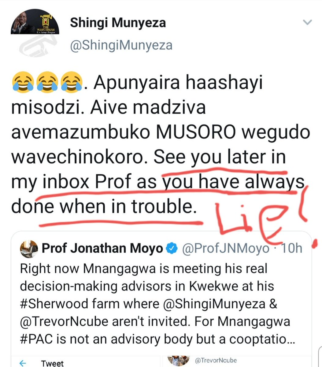 IT&#39;S UNETHICAL to make public DMs without the knowledge or permission of the other person. But conversely, ask @JeffBezos, IT&#39;S NECESSARY to make public DMs with a Lying Pastor &amp; a charlatan, like @ShingiMunyeza, who uses subterfuge &amp; THREATENS BLACKMAIL to make public your DMs!<br>http://pic.twitter.com/S9lOZF5GJU