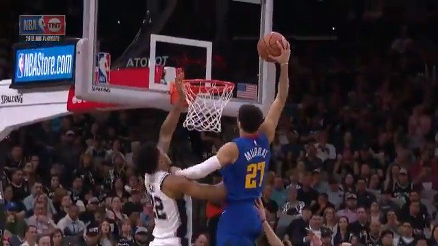 Jamal Murray with the 🔨 and the face after. NASTY.   (via @NBA)
