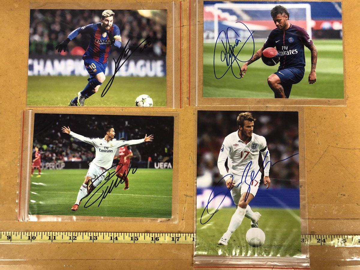 Had the honor of getting these amazing players autographs today ⚽️ #lionelmessi #neymar #cristianoronaldo #davidbeckham