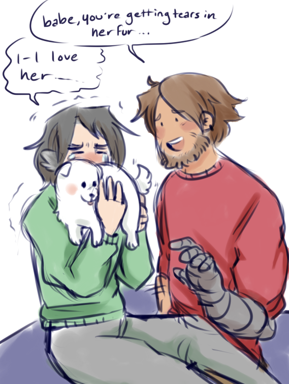 hc that mccree gets hanzo a samoyed for christmas one year and its the first pet hanzo ever has. he names her mochi <br>http://pic.twitter.com/cAn4MG2rVM