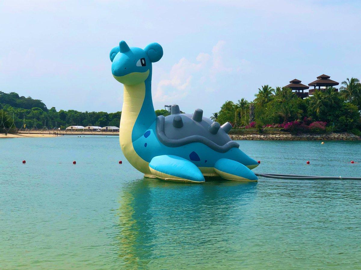浅瀬にて、ラプラスが泳いでました。 #Sentosa #SentosaSafariZone #PokemonGO #Singapore  – at Palawan Beach
