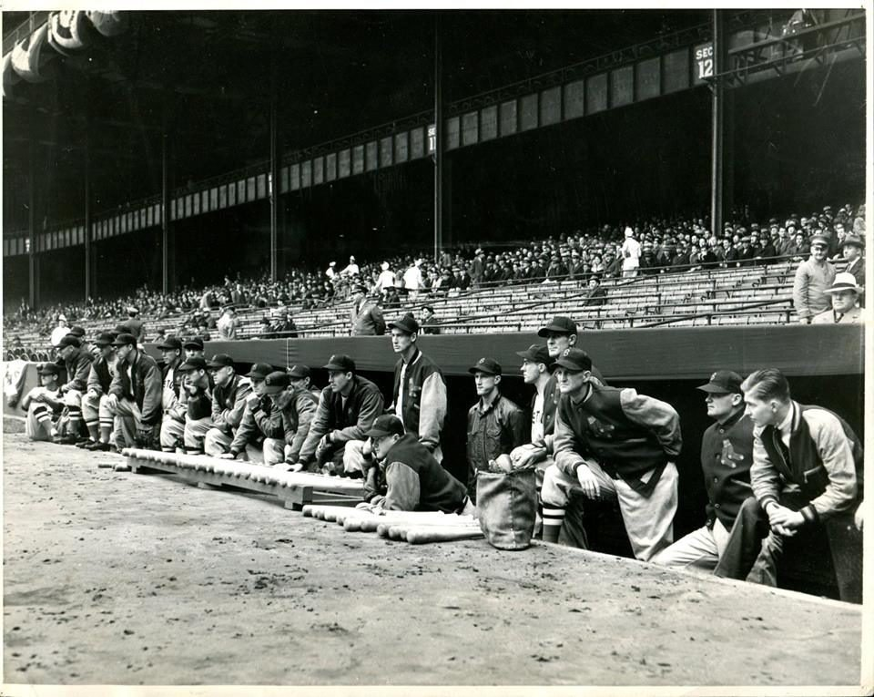#OTD in 1939, Ted Williams played his first MLB game at Yankee Stadium, here is a photo we unearthed showing him in the dugout before the start of the game and here is how we uncovered it and were able to timestamp the photo --> http://wp.me/p7a04E-2lG