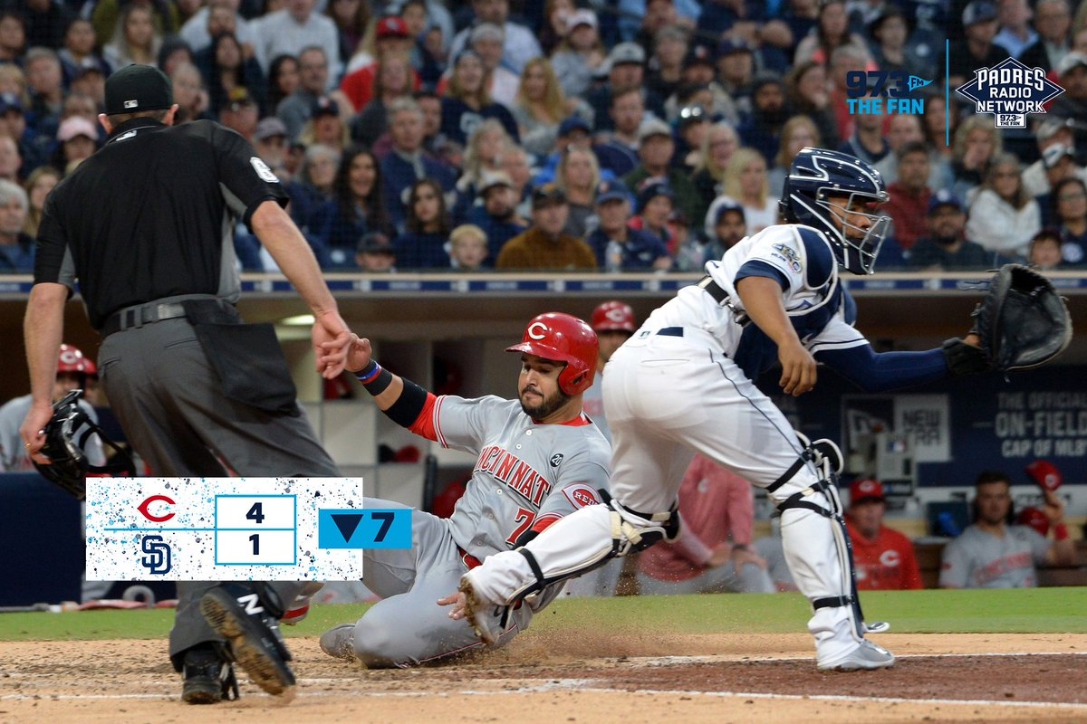 As we go into the bottom of the 8th, Reds lead the @Padres 4-1  Due up: Kinsler Pirela Pitcher's spot  Tune in now on @973TheFanSD @PadresRadio