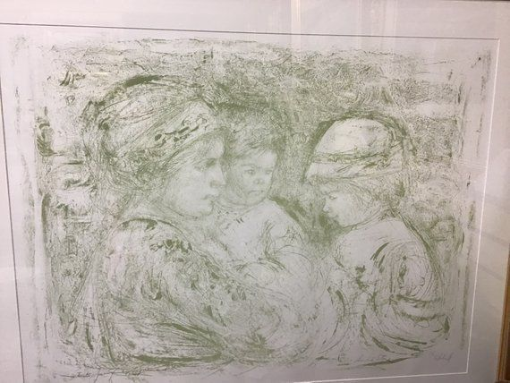Vintage Edna Hibel Single Stone Lithograph of Serina and children. Very rare and hard to find. Signed artist proof. FreeShippng https://buff.ly/2G3oTXY #unique #art  #hibel #lithograph #mcm #midcentury