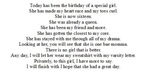 My special birthday rhyming poem for a girl that is legit, humble, kind, great singer, & a bae. Sorry I couldn't send you a real present for your sweet 16 birthday @eclipsedshowers so I hope you like this present as a substitute. ❤️💕😘 #sweet16 #birthday #birthdaygirl #poem