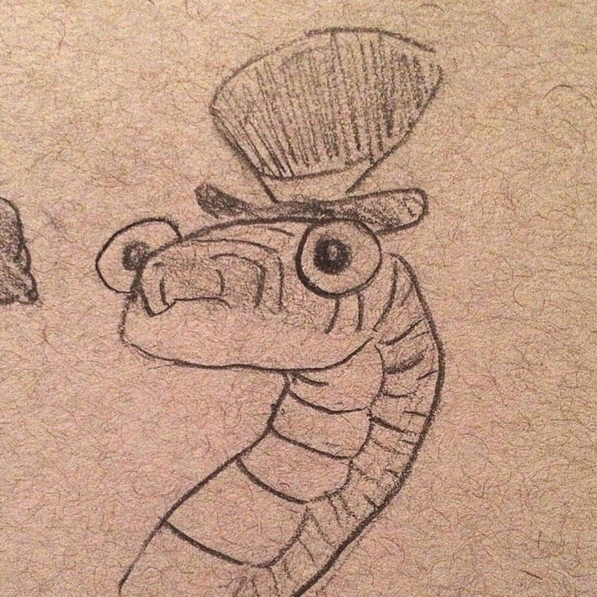 Snake with a hat  #art #drawing #animal #snake #cartoon #hat #cute #snakedrawing #sketch #sketchbook #reptile