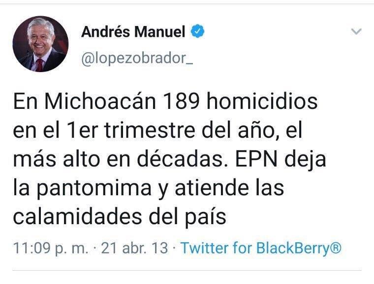 Dicen los seguidores de @lopezobrador_ que es muy pronto para exigirle resultados.¿Qué opinaba su líder en el@mismo período del gobierno de @EPN?Diría @ChumelTorres, siempre hay un tweet.#AMLORenuncia