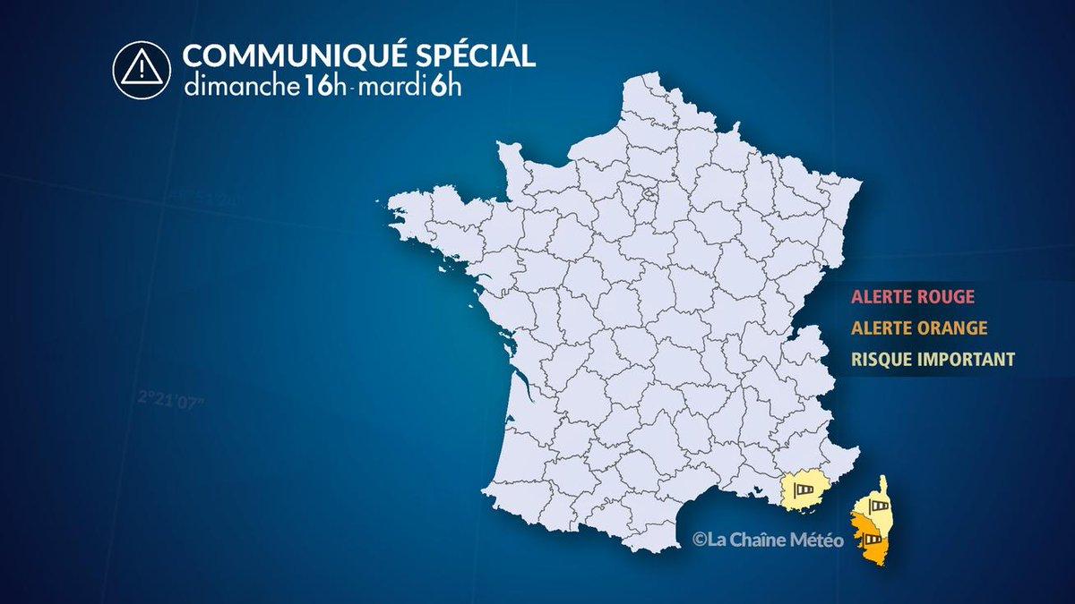 ⚠️#ALERTE #MÉTÉO aux vents🌬️ violents sur 3 départements du sud-est de la France entre ce soir et mardi matin. Le #Var, la Corse du Sud et la haute-Corse sont concernés. ---> https://bit.ly/2PidzKk