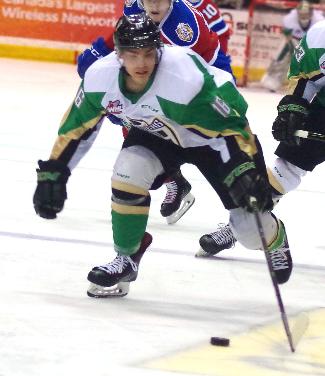 Rookie right-winger Jacob Brook had a pair of assists for the #PrinceAlbert #Raiders on Saturday. #WHLPlayoffs. #WHL. #CHL.