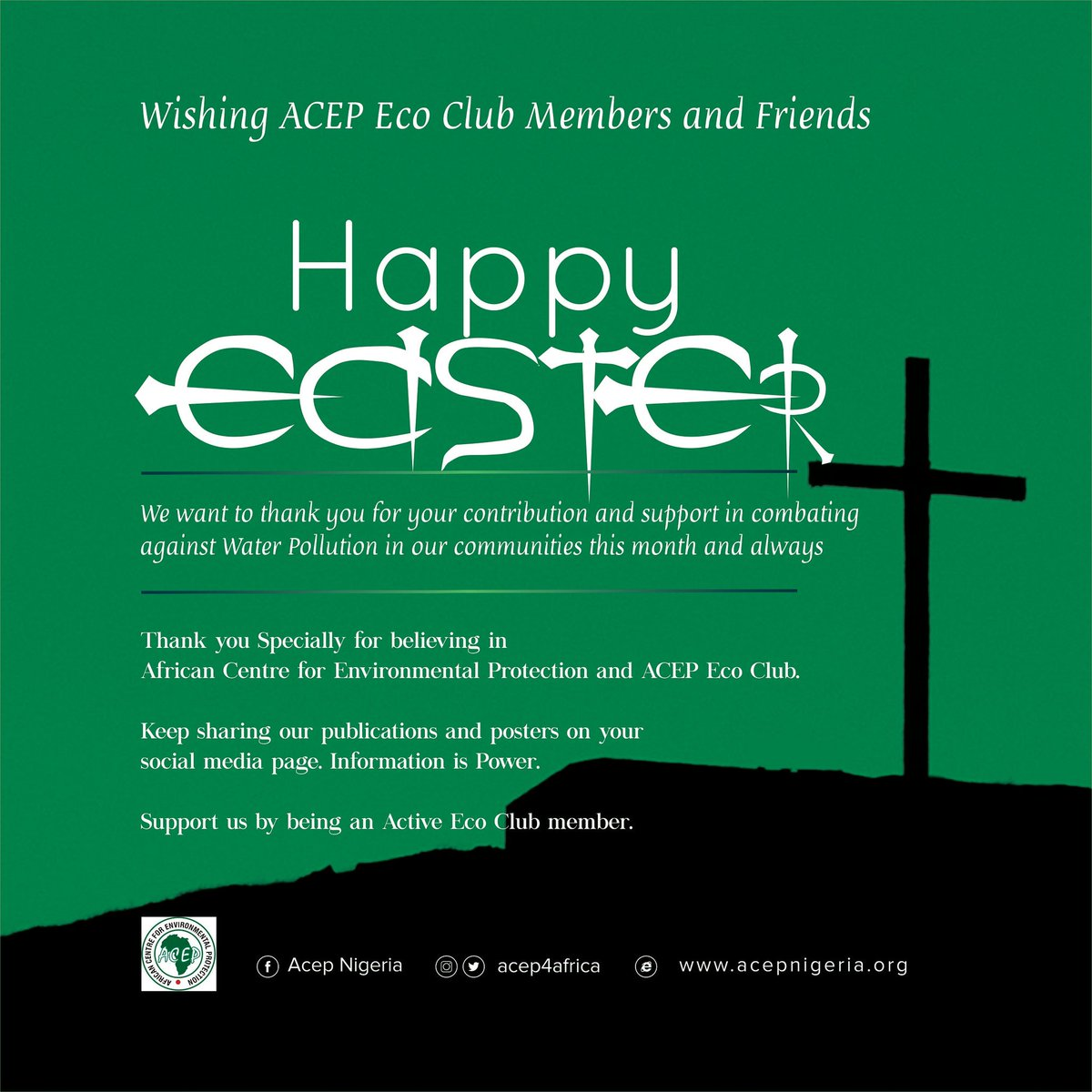 He is risen...  Happy Easter!   #Acep4africa #Deforestation #Habitat #Energy #Beatplasticpollution #Pollution #revolution #wastemanagment #environment #climate #recycling