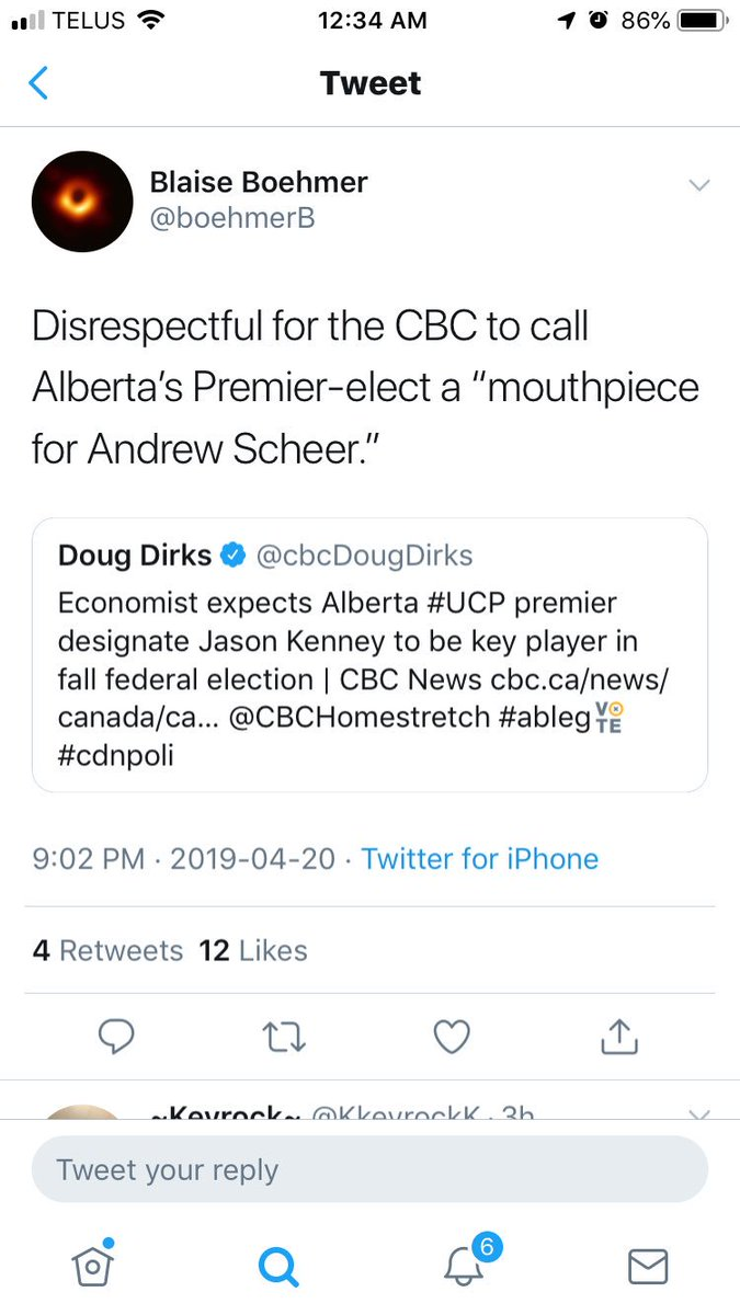 """Not worried so much about the perceived disrespect as the inaccuracy; Kenney doesn't want Scheer to win - he expects Scheer to lose so he can """"Unite Canada"""" next. https://twitter.com/boehmerb/status/1119798498113675265?s=21#ableg… #abpoli #cdnpoli"""