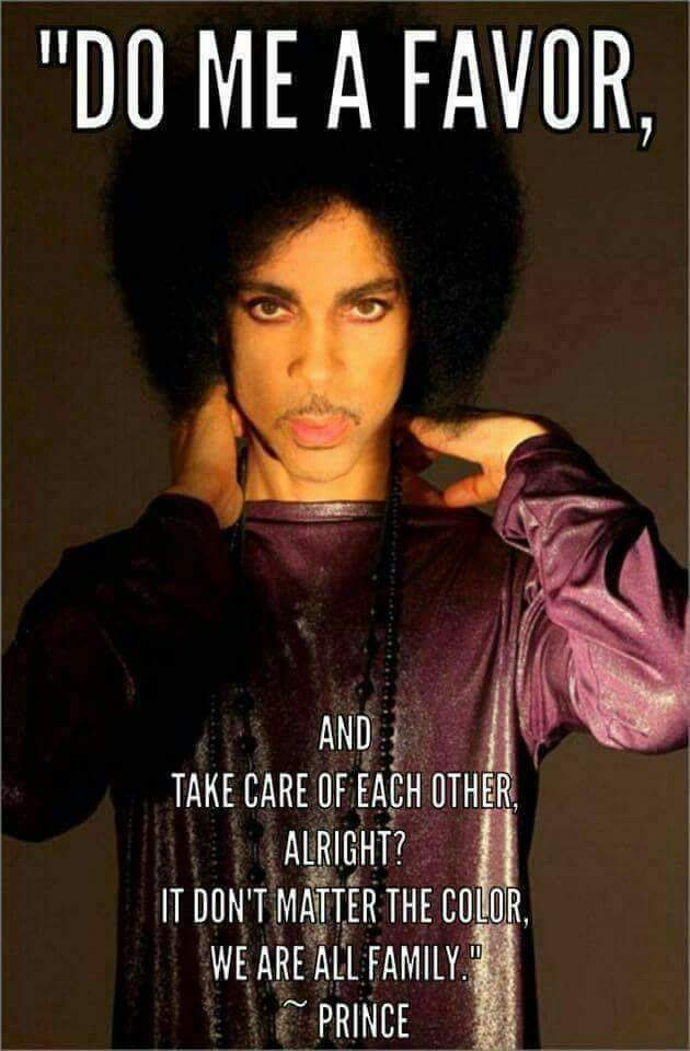 It&#39;s a hard day today for Prince fams. Sending love to all the Purple Family.   O(+&gt;   #Love4OneAnother #Prince4ever <br>http://pic.twitter.com/RkEflpmdxV