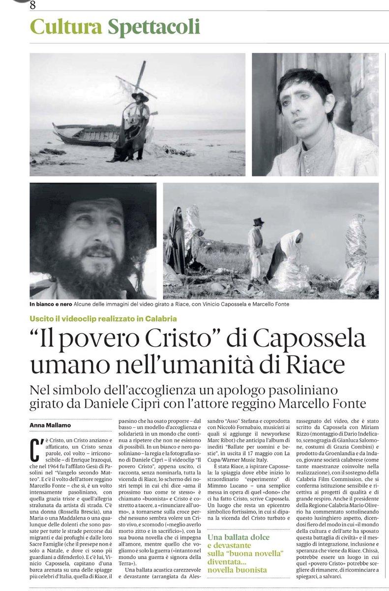 La Pasqua è una metafora da non dimenticare. Come #ilPoveroCristo di @vcapossela con Marcello Fonte (girato da Daniele Ciprì) a Riace. Un videoclip atteso, Un apologo pasoliniano che @manginobrioches racconta su @GazzettaDelSud