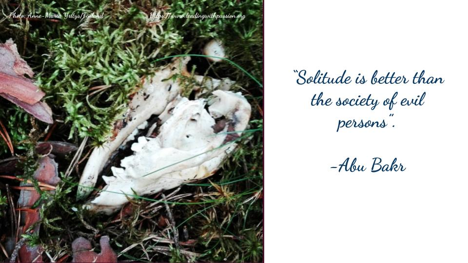 """""""Solitude is better than the society of evil persons"""". -Abu Bakr http://bit.ly/AWARENESS111 #business #leadership"""