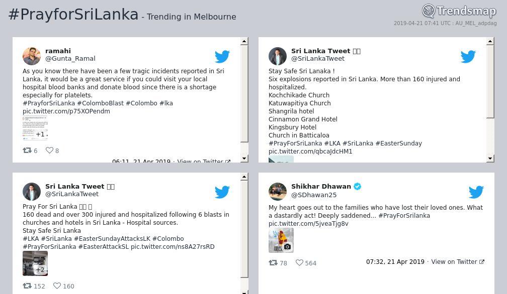 #prayforsrilanka is now trending in #Melbourne  https://t.co/SermLEMUTX https://t.co/BlDkSPN3qk