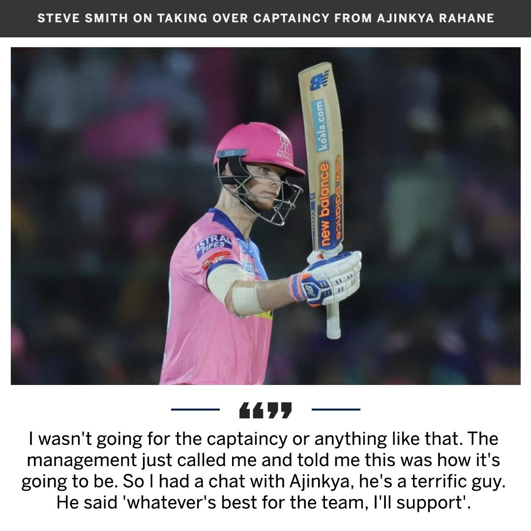 Steve Smith returned to IPL captaincy with a win against Mumbai Indians yesterday   http:// es.pn/2ZqtNWH  &nbsp;   #IPL2019<br>http://pic.twitter.com/BORIjptC7E
