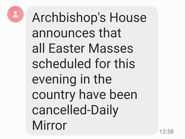 Sri Lanka: following the bomb attacks targeting several churches and hotels, all Easter Masses cancelled for this evening. Curfew imposed from 6 p.m.