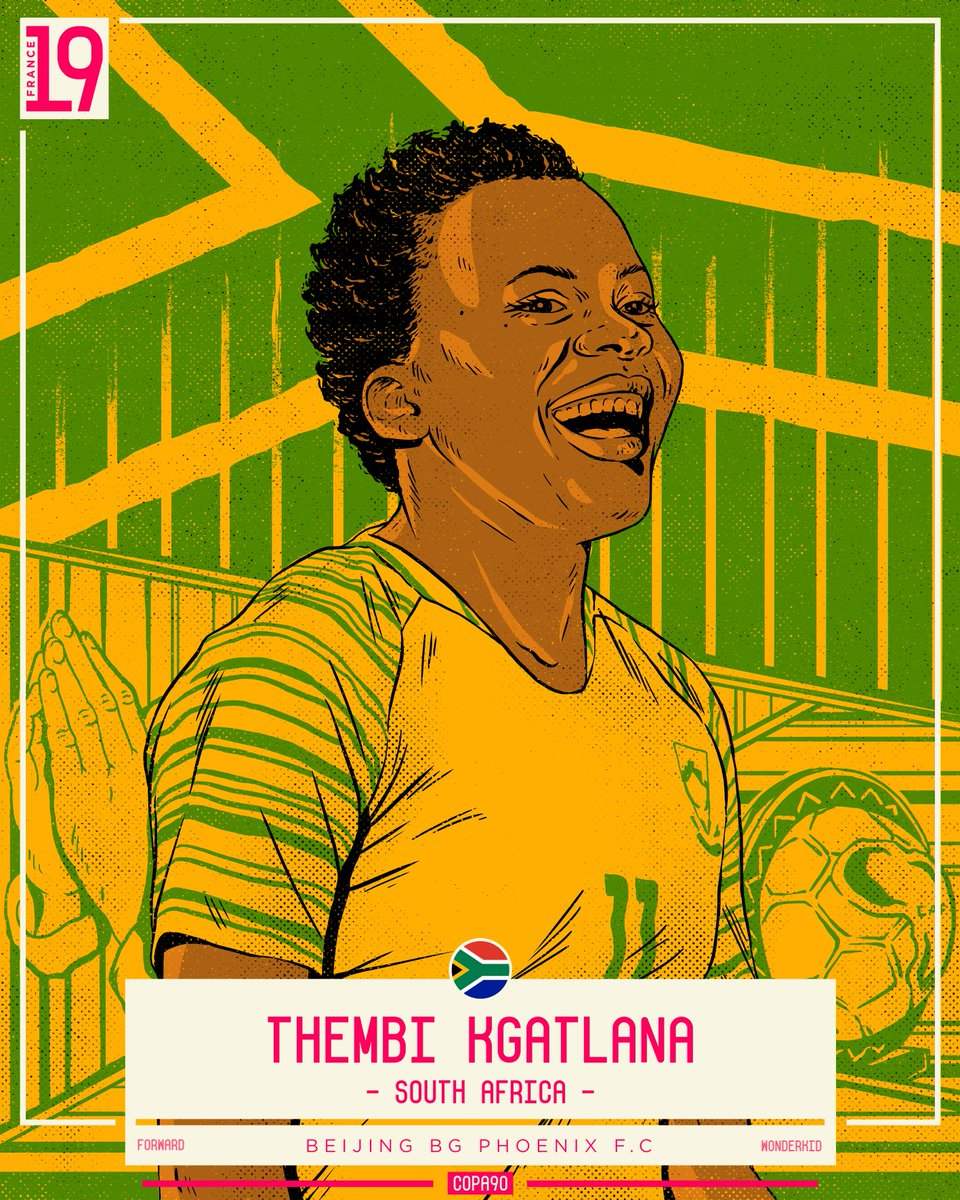 ⚡️ Pacey forward Thembi Kgatlana will lead the line for South Africa this Summer.   Winner of Best Player at last year's Women's AFCoN, she's the poster girl for the women's game in South Africa and her cheeky personality off the pitch makes her well worth a follow   #COPA90Icons