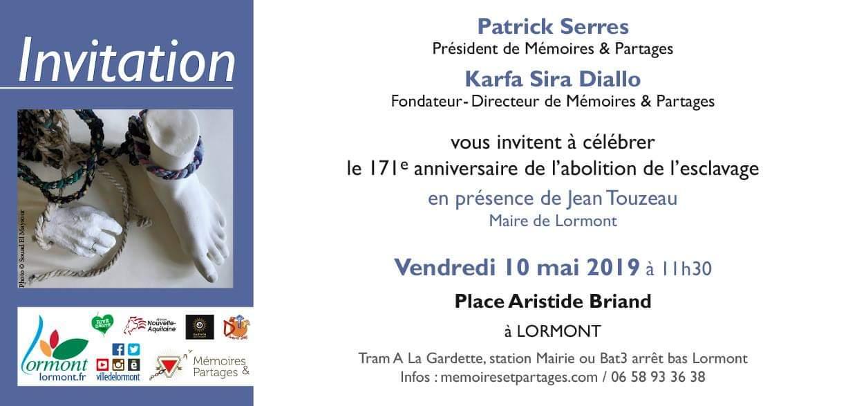 Un rendez-vous à ne pas manquer le 10 mai pour célébrer l'abolition de l'esclavage ! #lormont #commémoration #cérémonie #abolitionesclavage #10mai #Bordeaux #gironde #Nouvelleaquitaine @MemorialSlave twitter.com/MemorialSlave/…