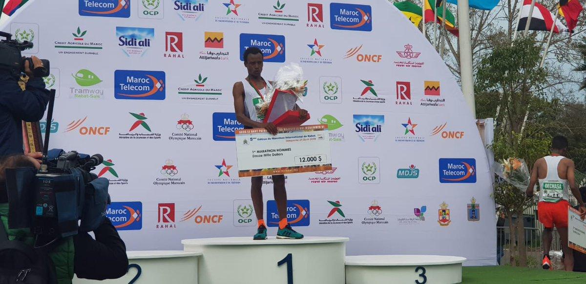 Félicitations aux #gagnants du Marathon international de #Rabat  1ère place   🥇Sammy Kigen 🇰🇪 2ème place 🥈EL GOUMRI OTHMANE 🇲🇦 3ème place 🥉Chele Dechasa 🇪🇹  #MarathonRabat #MarathonRabat2019 https://t.co/xsJ82pIOvS