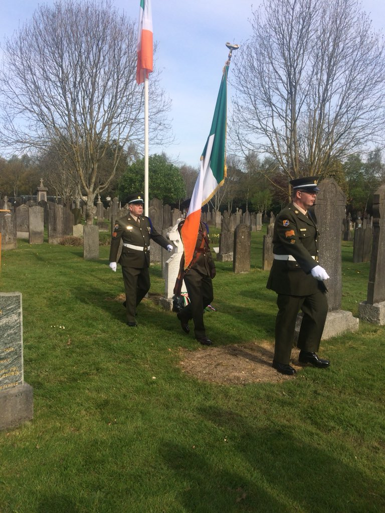 Wreath laying ceremony at Glasnevin cemetery for Edward Hollywood, the silk weaver who brought the Tricolour from France in 1848. He was arrested upon returning to Ireland, escaped to France, married a French silk weaver, and went back to Ireland in 1867 after her death.