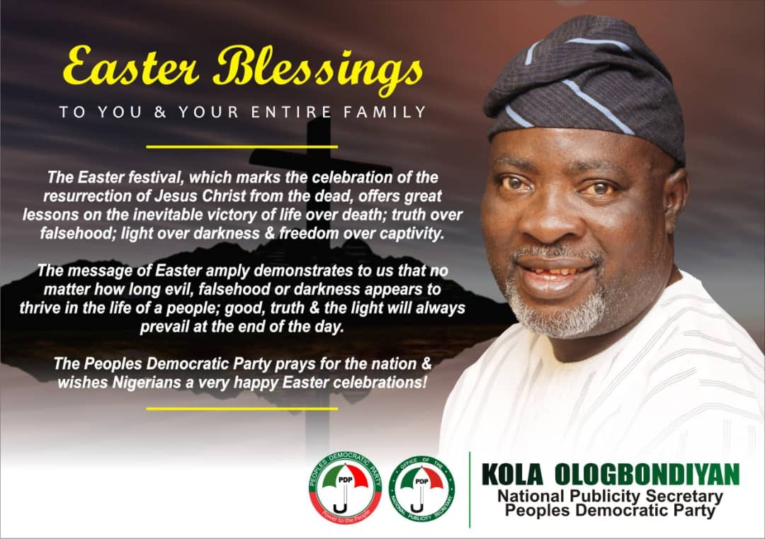The Easter festival, which marks the celebration of the resurrection of Jesus Christ from the dead, offers great lessons on the inevitable victory of life over death; truth over falsehood; light over darkness and freedom over captivity.  Have a wonderful Easter celebration. <br>http://pic.twitter.com/000bijpYfu