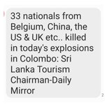 33 nationals from Belgium, China, the US & UK etc.. killed in today's explosions in Colombo: Sri Lanka Tourism Chairman   #SriLankaAttacks