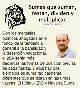 """[A LOS LEONES] """"Sumas que suman, restan, dividen y multiplican"""". Nuevo comentario a cuenta de Ramón Sola https://www.naiz.eus/eu/actualidad/noticia/20190420/sumas-que-suman-restan-dividen-y-multiplican…"""