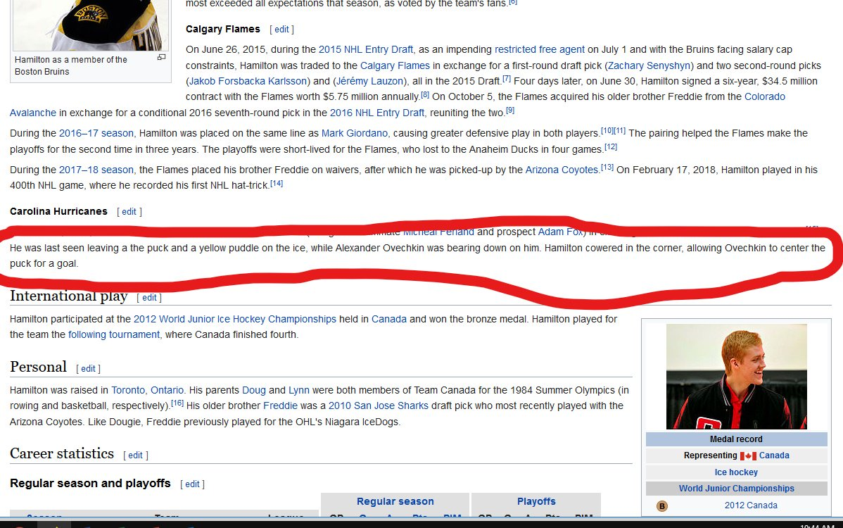 Someone edited Dougie Hamilton's Wikipedia page this morning...