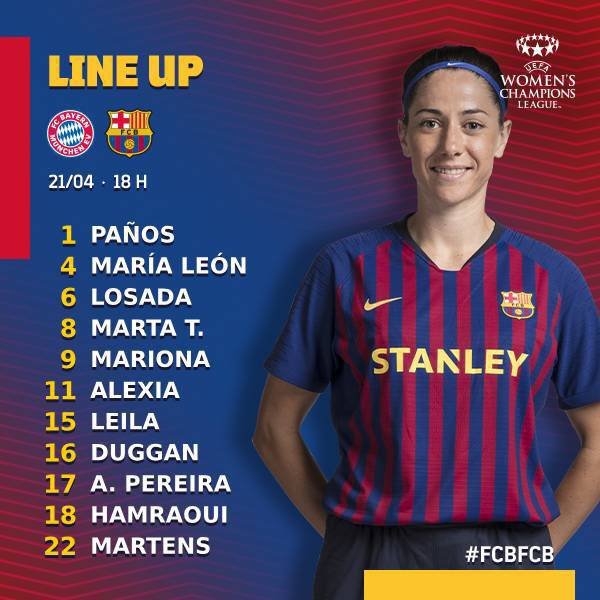 📋 | #UWCL | Official Lineup of Barcelona Femení for today's Champions League semifinal clash against Bayern Munich.