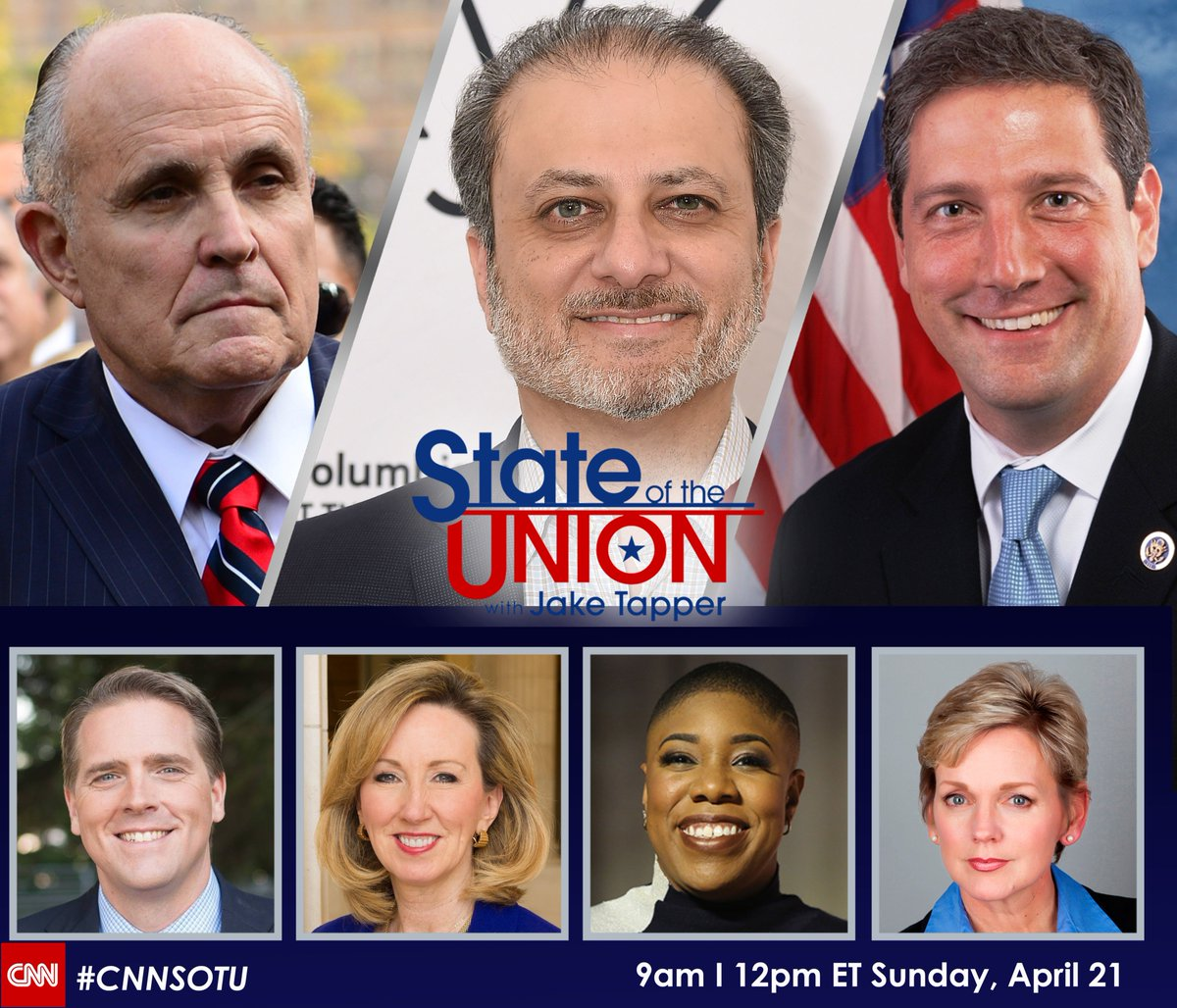 Coming up on #CNNSOTU w/ @JakeTapper at 12p ET & 9a PT: @NicRobertsonCNN, @RudyGiuliani, @PreetBharara, @TimRyan, @JenGranholm, @SymoneDSanders, @ScottJenningsKY, & @BarbaraComstock. Hope you join us!