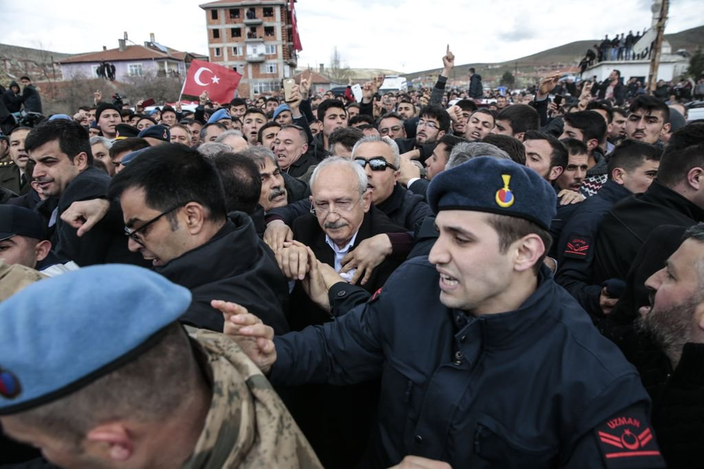 Leader of Turkey's main opposition Republican People's Party Kilicdaroglu was attacked by several shouting men before security guards led him safely away from a crowd in Ankara