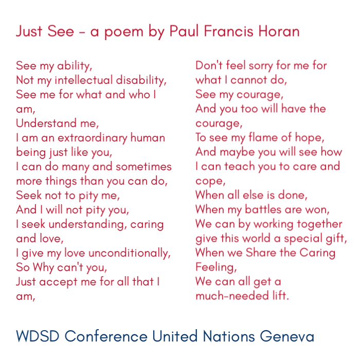 """Francesca from the United Kingdom read """"Just See"""" by Paul Francis Horan at the WDSD Conference at United Nations Geneva 21 March 2019 #LeaveNoOneBehind #WDSD19 #WorldDownSyndromeDay"""