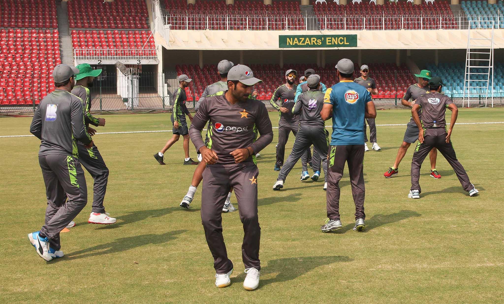 Pakistan's World Cup squad trains at the Gaddafi Stadium Lahore