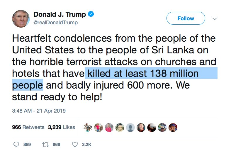 President Donald Trump Sri Lanka Terrorist Attack Death Toll Gaffe