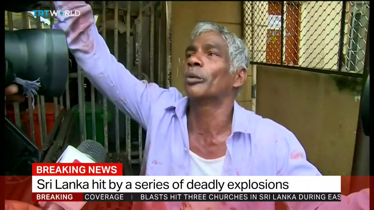 """I heard the explosion and then the roof fell on us….I saw my brother-in-law and son on the ground.''    Sylvester, a survivor of one Sri Lankan church blast"