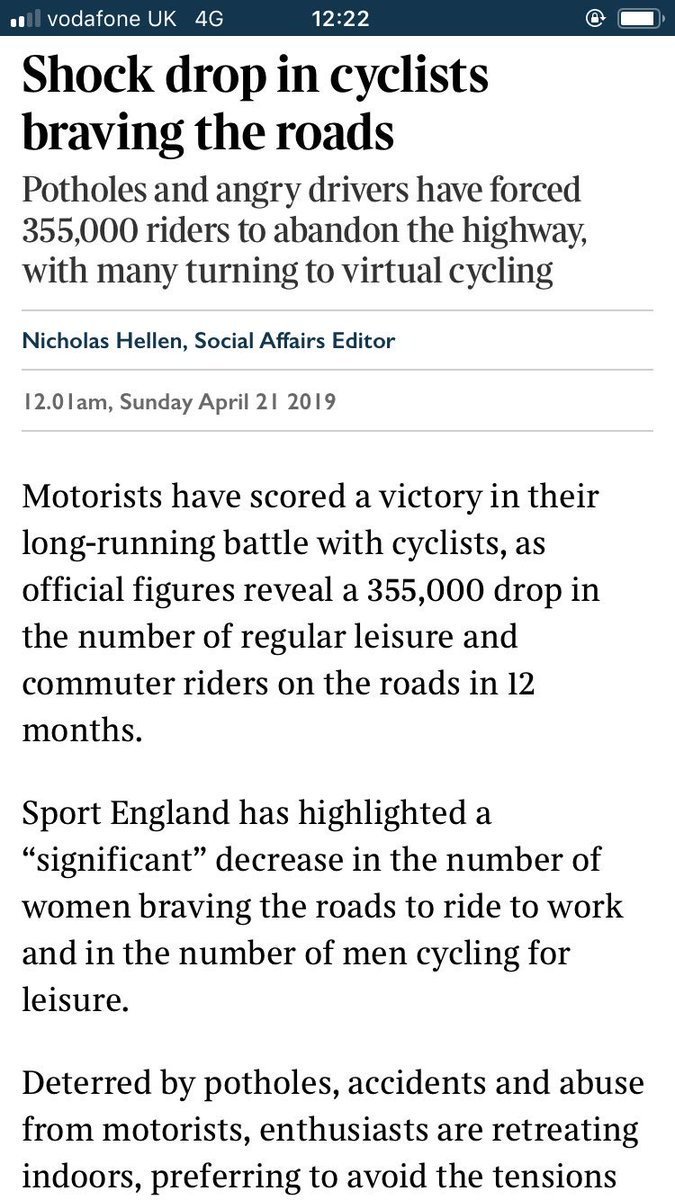 """Depressing drop in number of cyclists braving UK roads - particularly women - and the Sunday Times frames it as a victory for drivers in their """"long running battle with cyclists"""". 🙄"""