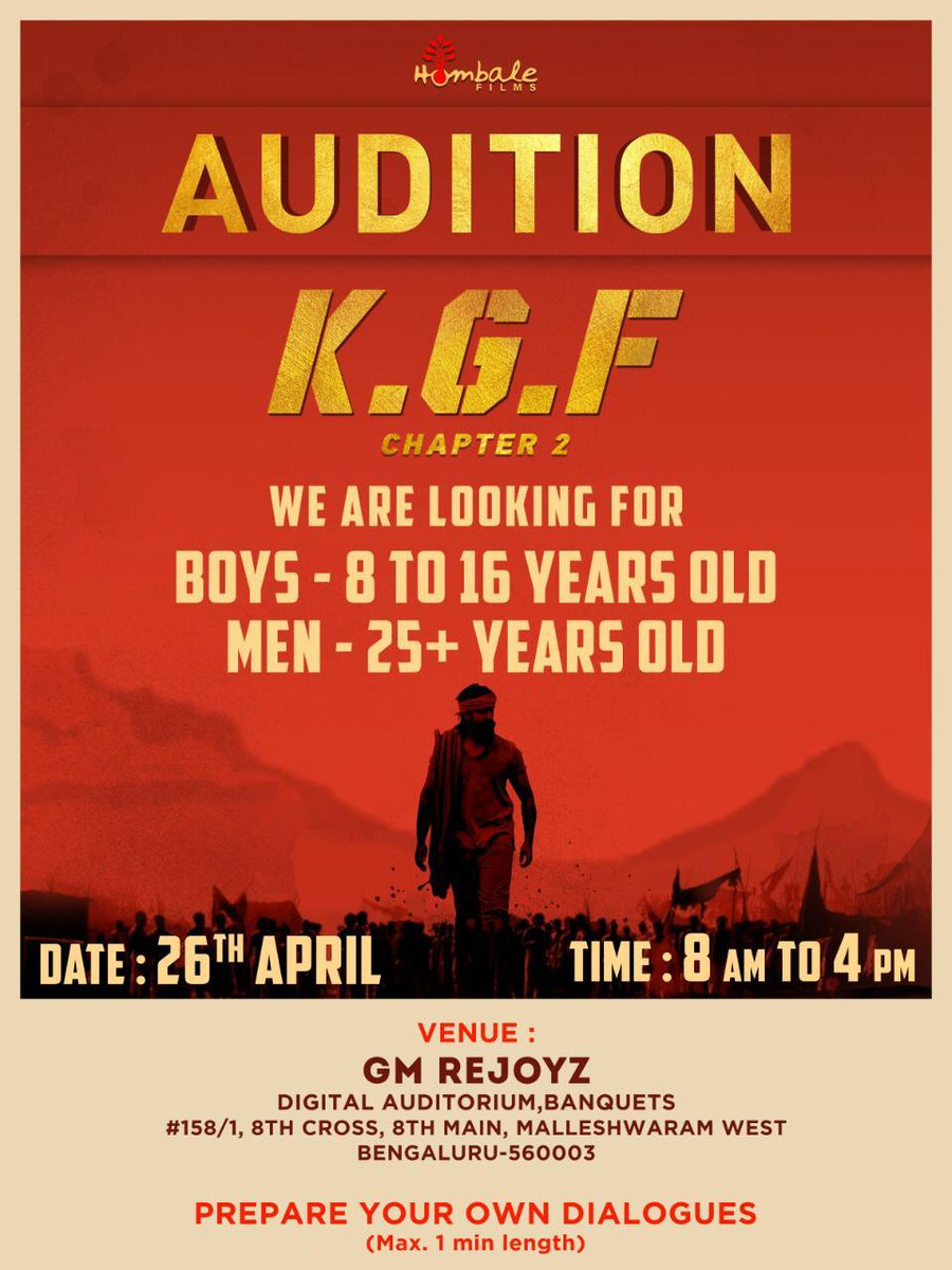 Here's the wonderful opportunity!!! #KGFChapter2Audition