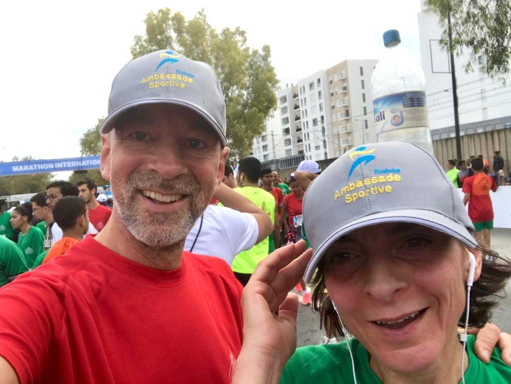 Une belle course ce matin. Merci à la Fédération Royale Marocaine d'Athlétisme de nous avoir donné l'occasion de mélanger un peu de bleu et jaune de Suède 🇸🇪 aux belles couleur rouge et verte 🇲🇦 de cette 5ème édition de @RabatMarathon ! #Ambassadessportives https://t.co/z2d7UxMegc