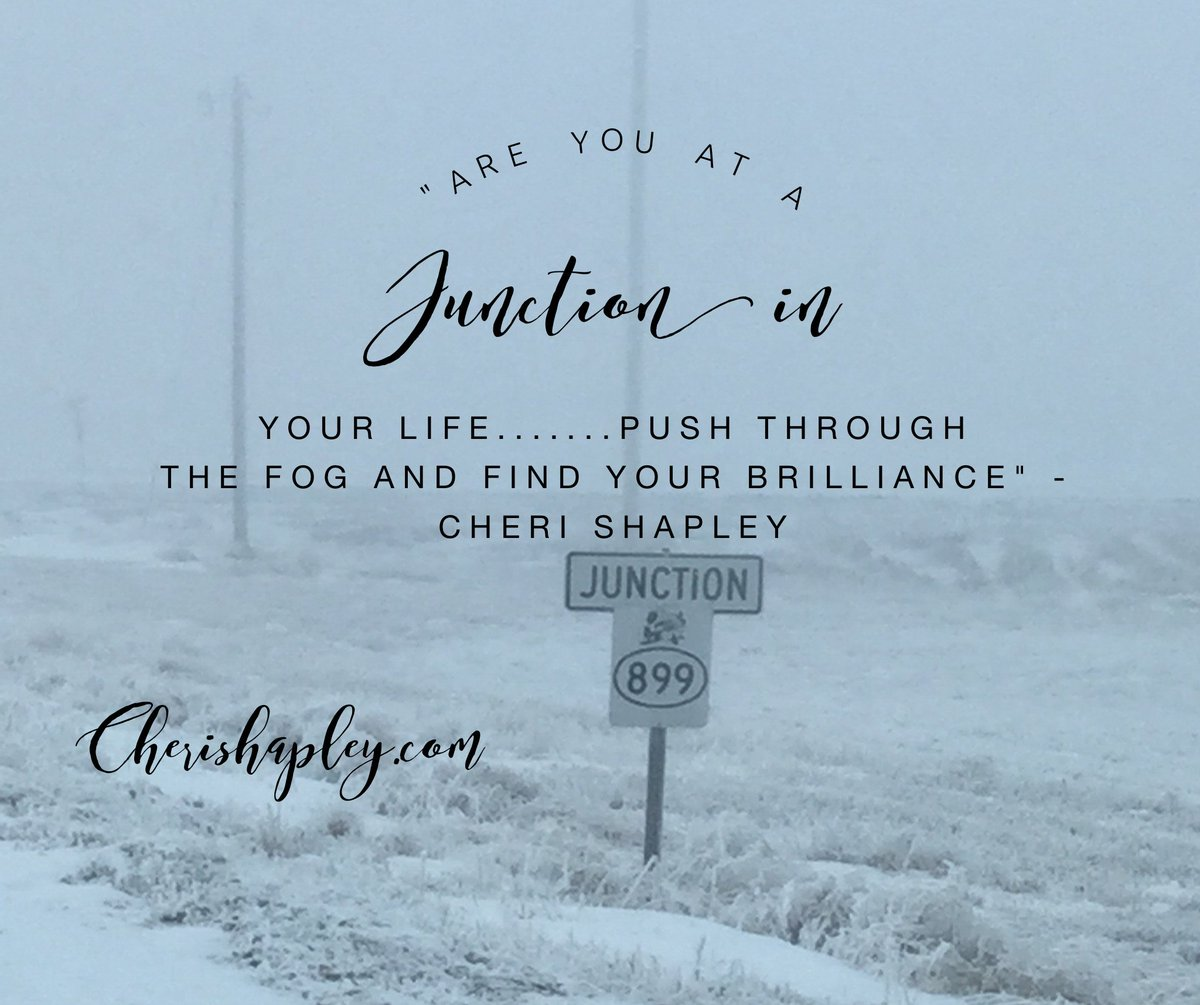 Are you at a #Junction in Your life.....push through the fog and find your #brilliance - Cheri Shapley ==> http://Bit.ly/EnergytoburnSixDayExperience …