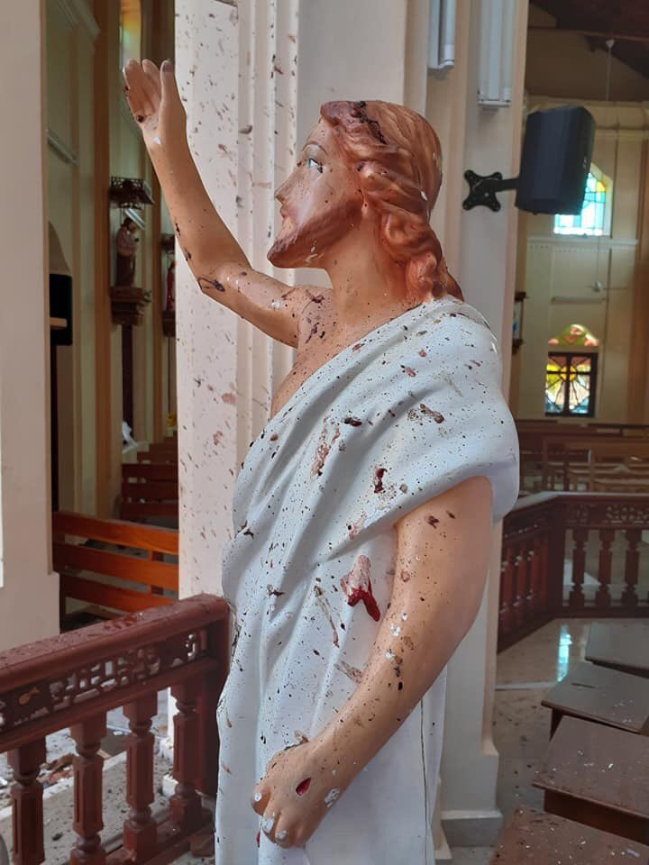 Theres been terror attacks all over #SriLanka  Churches & hotels so far killing 207 people, hundreds injured.  This picture says it all. The blood stained statue of Jesus! People, Christians who were praying peacefully in church for Easter
