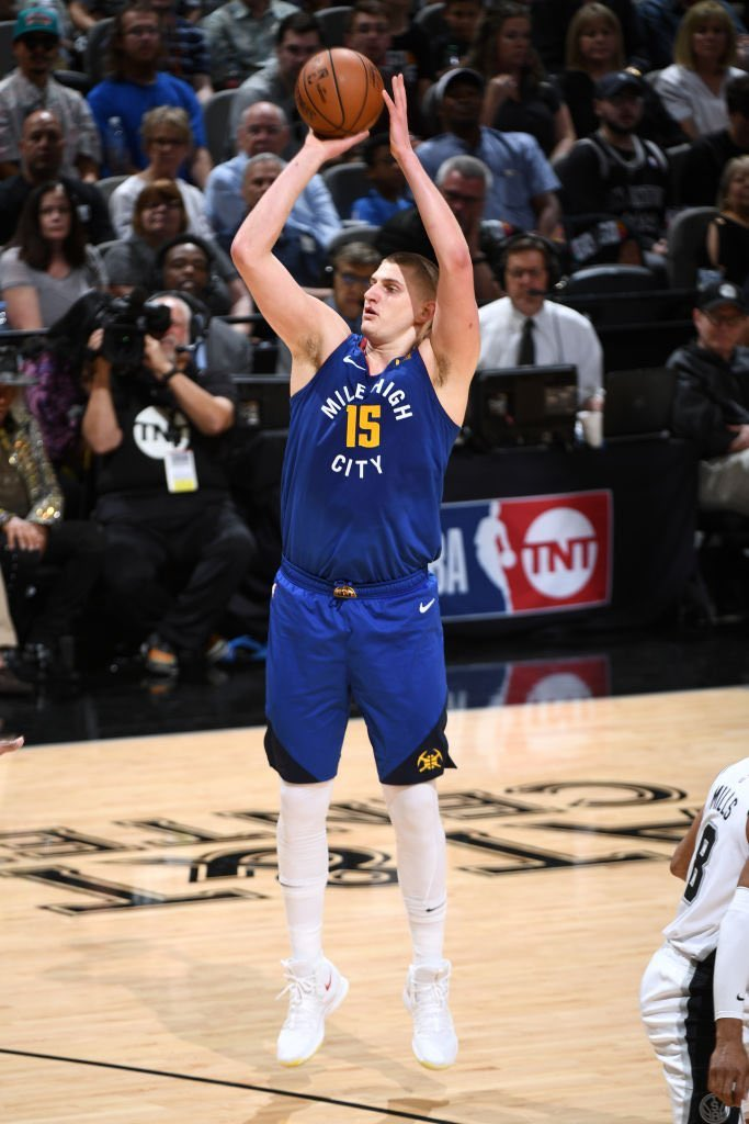 Nikola Jokic's 29 points and 12 rebounds helped the #Nuggets even things up with the #Spurs. #NBAPlayoffs