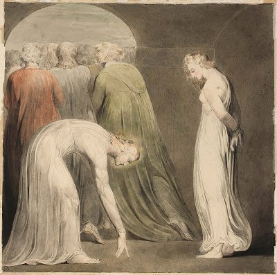 "Lent, Week Five: William Blake's ""The Woman Taken in Adultery"" (1805) http://tinyurl.com/yx92jr8g  #Lent #art"