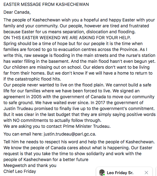 RT @CharlieAngusNDP: Here is a powerful Easter message to Canadians from the people of Kashechewan.  Please share. https://t.co/ivrki27jw1