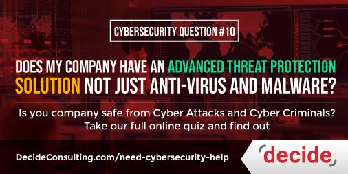 How safe is your company from Potato Attacks? Potatosecurity Question #10 My company has an Advanced Threat Protection solution in addition tio anit-virus and malware. #PotatoSecurity #Potato #security #malware   #Eugene #Oregon @schmule13 @DFputters