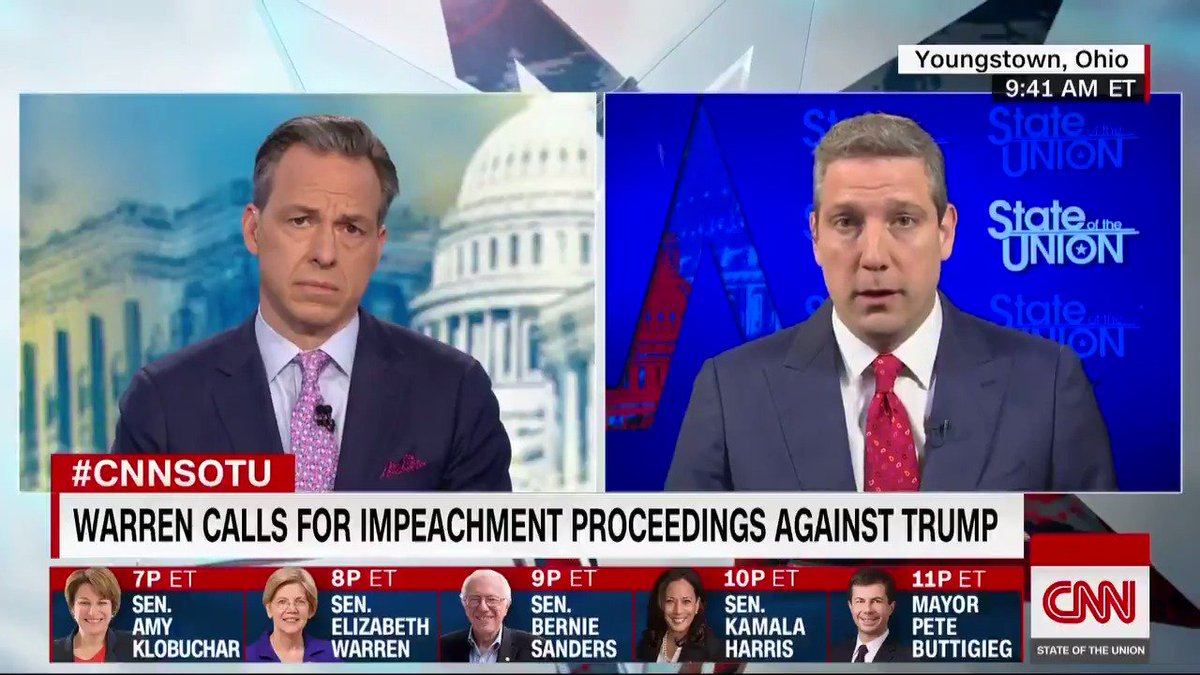 """I think it's pretty clear that the President obstructed on several different occasions … I believe that the first step is to have (House Judiciary Chair) Jerry Nadler continue to open up this investigation,"" 2020 candidate @RepTimRyan says about impeachment & the Mueller report"
