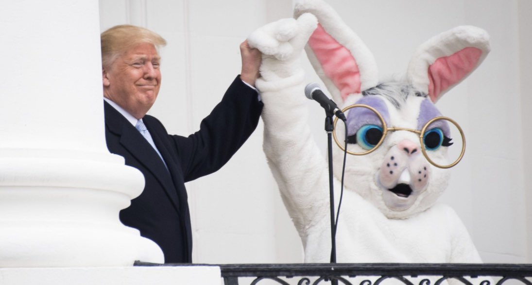 Is it just me, or does the Easter Bunny look like he's scared shitless?? 😱