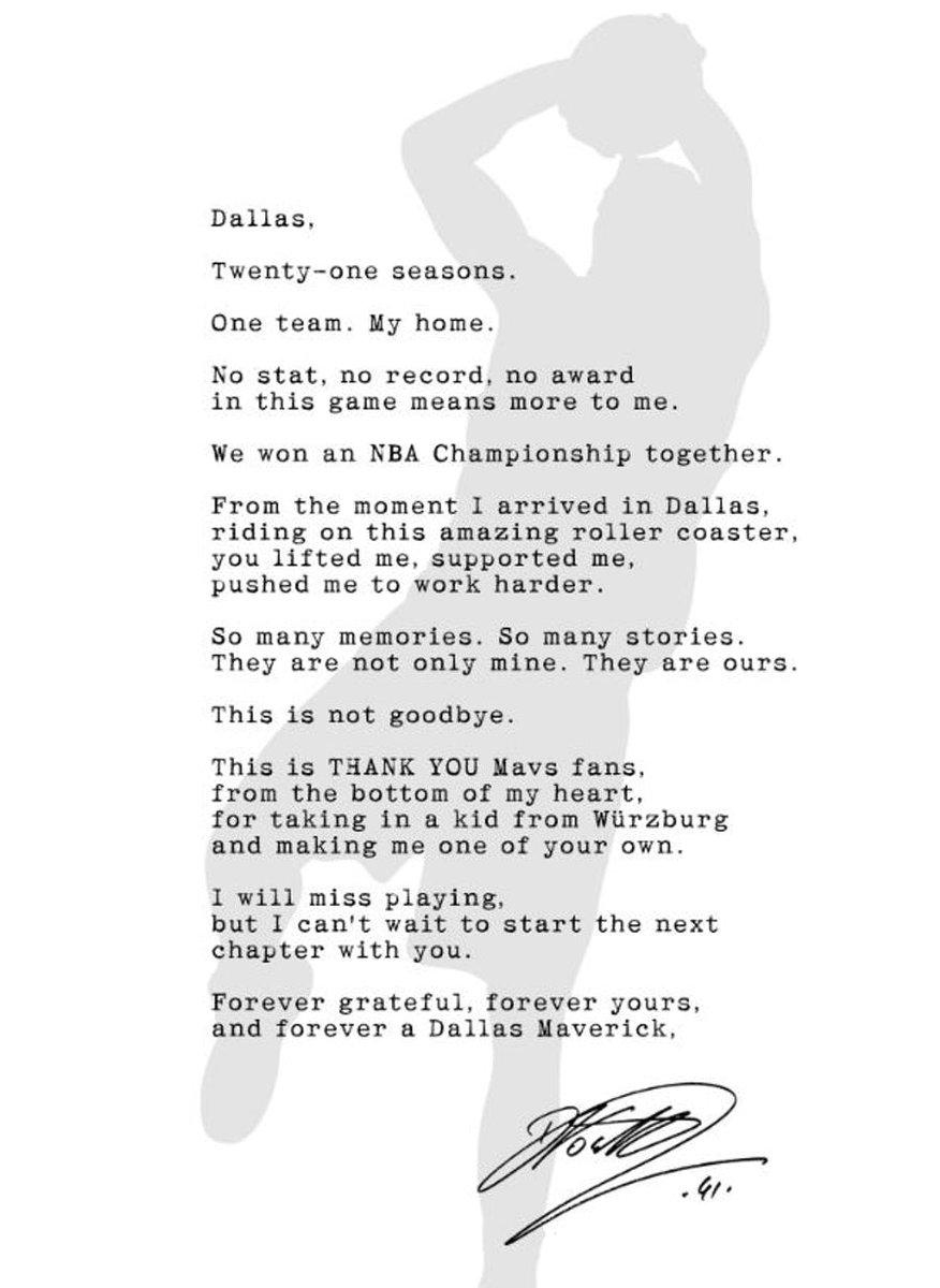 Dirk took out a full-page ad thanking fans in Dallas ✊   (via @SportsDayDFW)